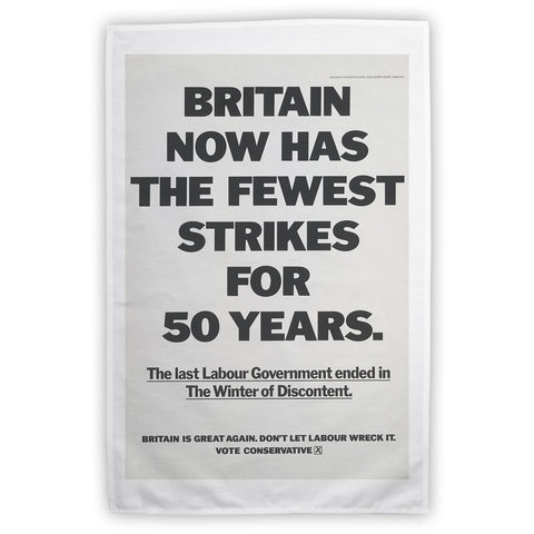 Britain now has the fewest strikes for 50 years Tea Towel