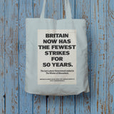 Britain now has the fewest strikes for 50 years Long Handled Tote Bag (Lifestyle)