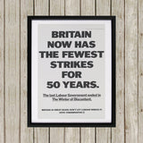 Britain now has the fewest strikes for 50 years Black Framed Print (Lifestyle)
