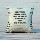 Britain now has the fewest strikes for 50 years Feather Cushion (Lifestyle)