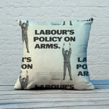 Labour's policy on arms (Camouflaged) Feather Cushion (Lifestyle)