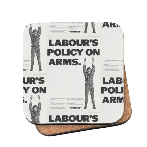 Labour's policy on arms (Camouflaged) Cork Coaster