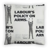 Labour's policy on arms (Camouflaged) Feather Cushion