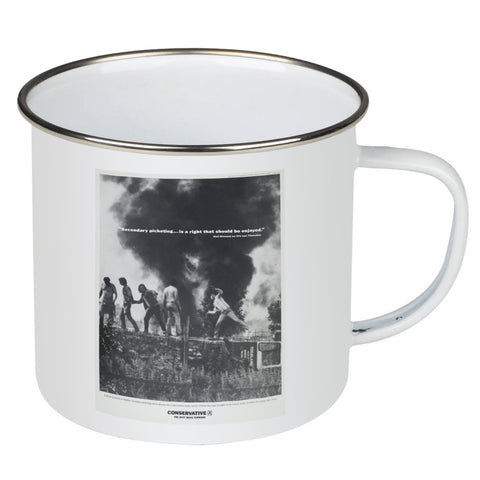 """Secondary picketing... is a right that should be enjoyed."" Enamel Mug"
