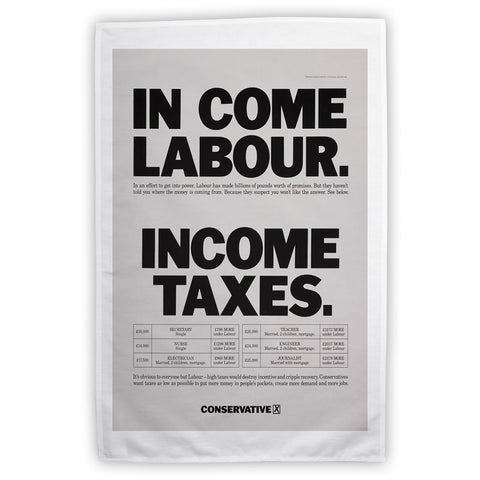 In come Labour. Income taxes Tea Towel