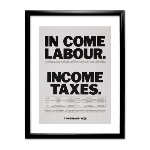 In come Labour. Income taxes Black Framed Print
