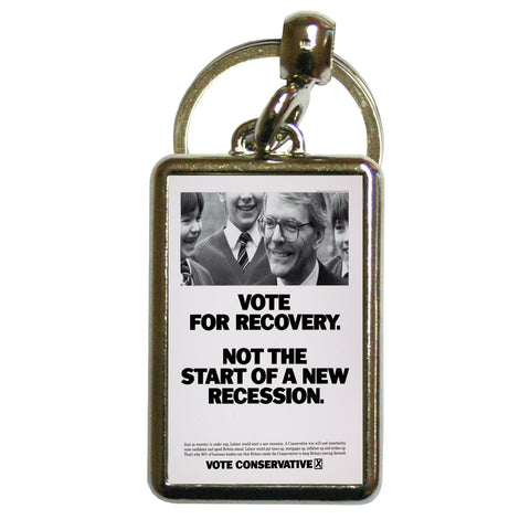 Vote for recovery not the start of a new recession Metal Keyring