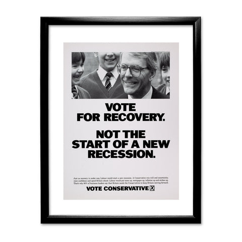 Vote for recovery not the start of a new recession Black Framed Print