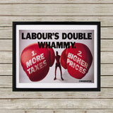 Labour's double whammy Black Framed Print (Lifestyle)