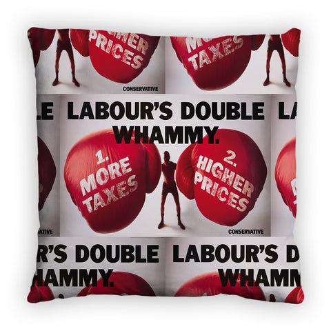 Labour's double whammy Feather Cushion