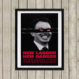New Labour. New danger. Black Framed Print (Lifestyle)