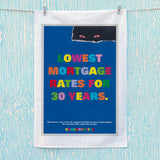 Lowest mortgage rates for 30 years Tea Towel (Lifestyle)