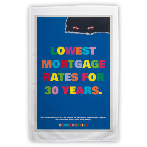 Lowest mortgage rates for 30 years Tea Towel