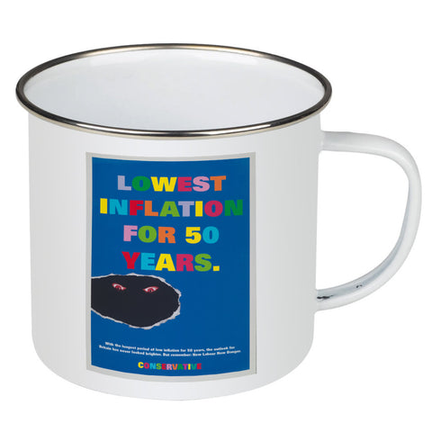 Lowest inflation for 50 years Enamel Mug