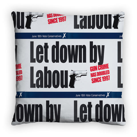 Let down by Labour Feather Cushion