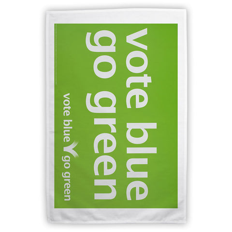 Vote blue go green Tea Towel