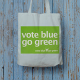 Vote blue go green Long Handled Tote Bag (Lifestyle)