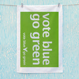 Vote blue go green Tea Towel (Lifestyle)