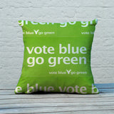 Vote blue go green Feather Cushion (Lifestyle)