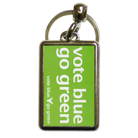 Vote blue go green Metal Keyring