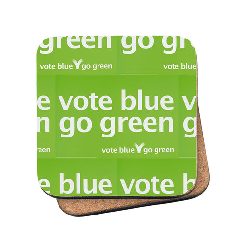 Vote blue go green Cork Coaster