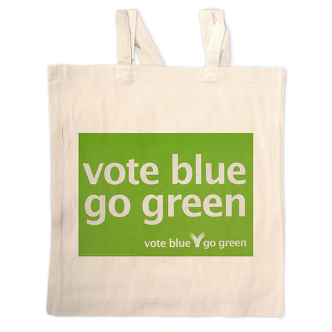 Vote blue go green Long Handled Tote Bag
