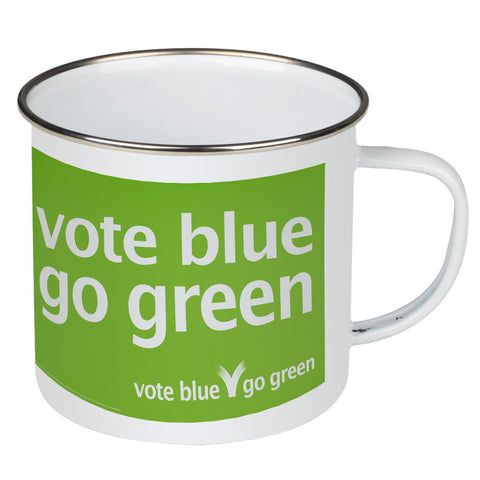 Vote blue go green Enamel Mug
