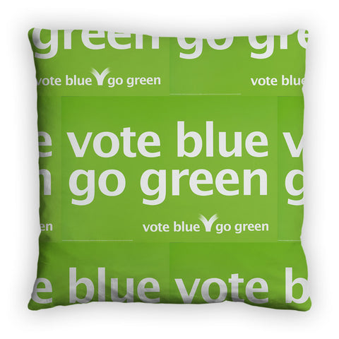Vote blue go green Feather Cushion
