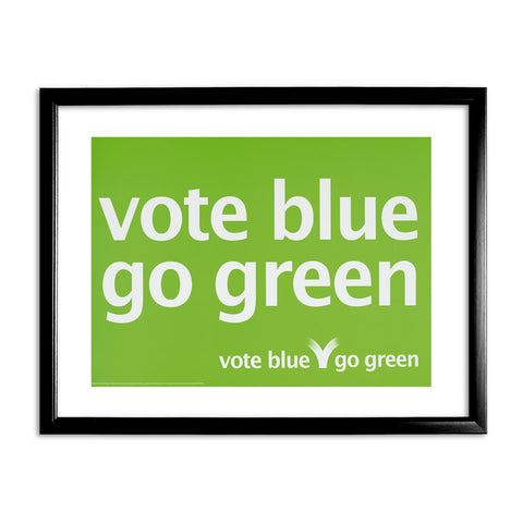 Vote blue go green Black Framed Print