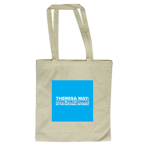Theresa May: Strong, stable leadership in the national interest Long Handled Tote Bag
