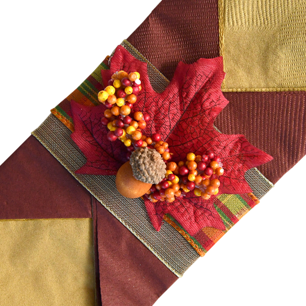 Contemporary Thanksgiving Napkins with Fancy Checkered Ribbon
