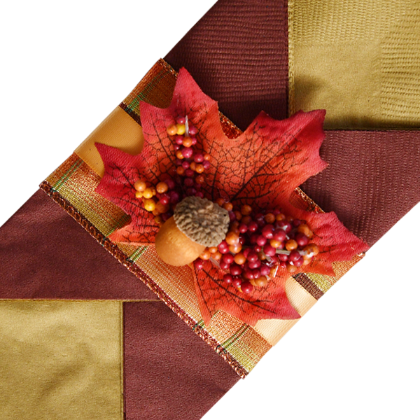 Contemporary Thanksgiving Napkins with Fancy Satin Ribbon