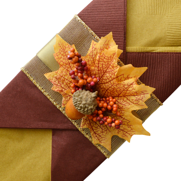 Contemporary Thanksgiving Napkins with Satin Olive Color Ribbon