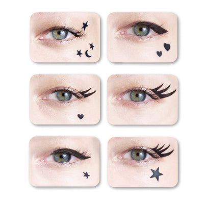 Eyes with sticker stars, moons and eyeliners