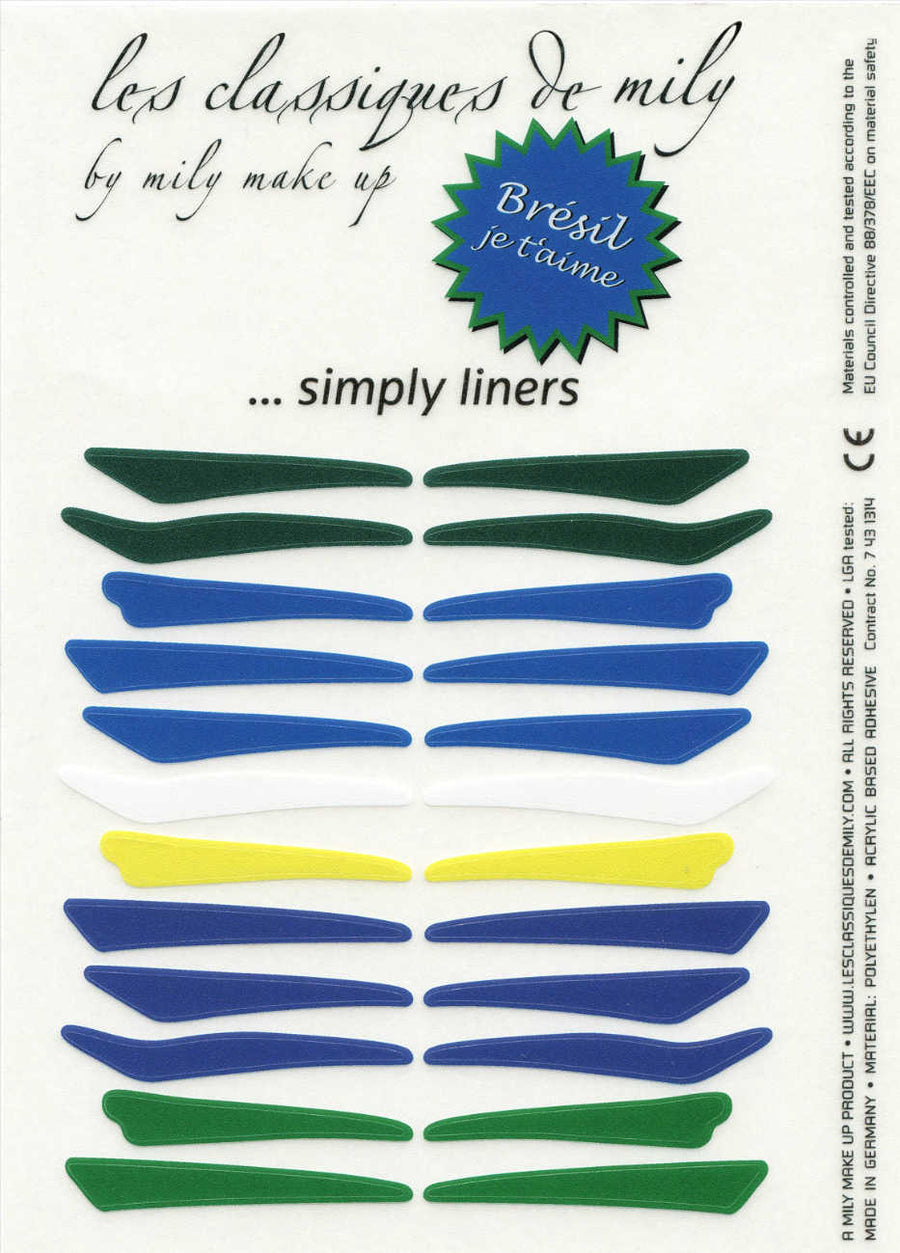 No.21 </br> press on eyeliners </br> Brazilian colors - 4 shapes