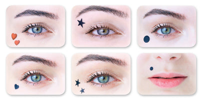 Eyes with beauty spot makeup (hearts, stars, moons, dots)