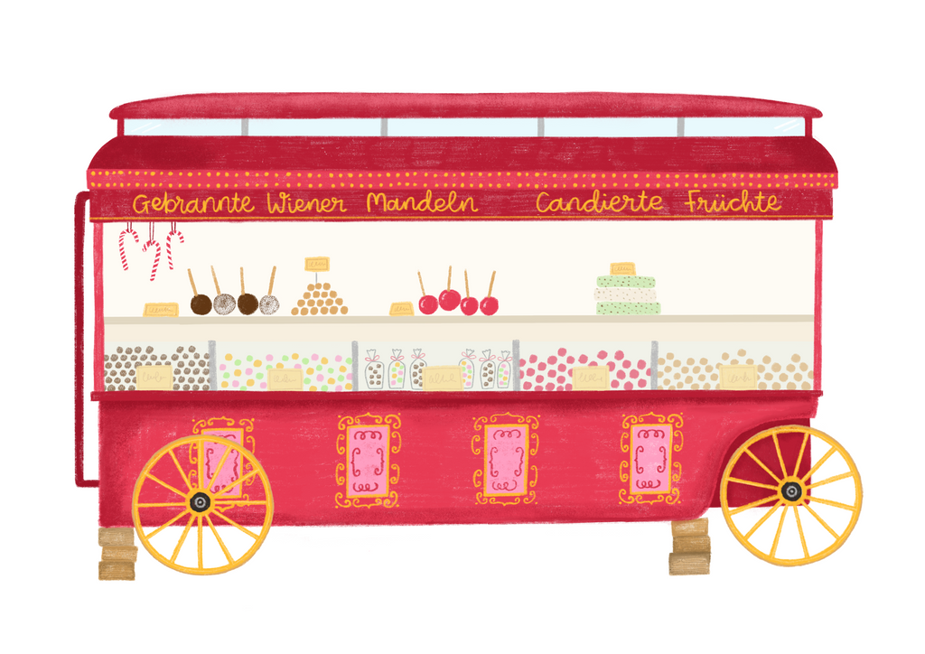 Kimberley Rose Studio Christmas Market Food Cart Illustration