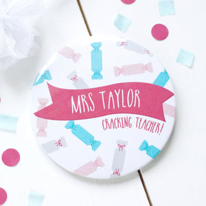 Pink 'Cracking Teacher' Pocket Mirror Gift