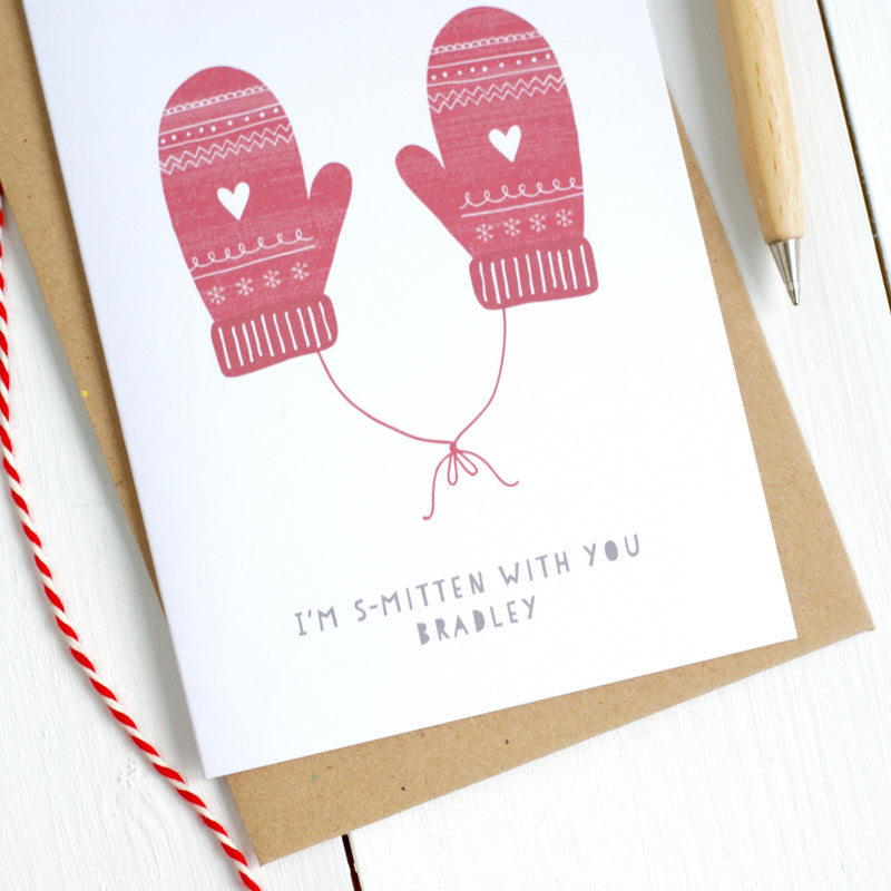 Personalised Mittens Christmas Card for Partner