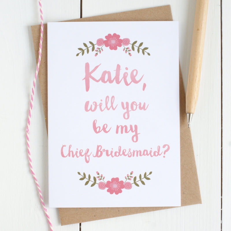 Personalised 'Be My Bridesmaid?' Card