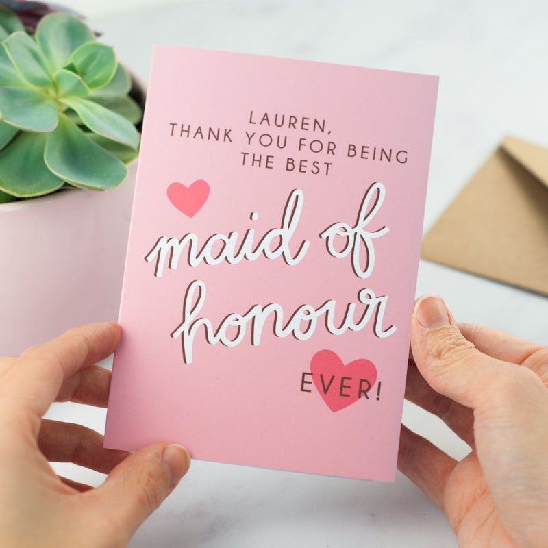 Personalised Thank You Card for Bridesmaid