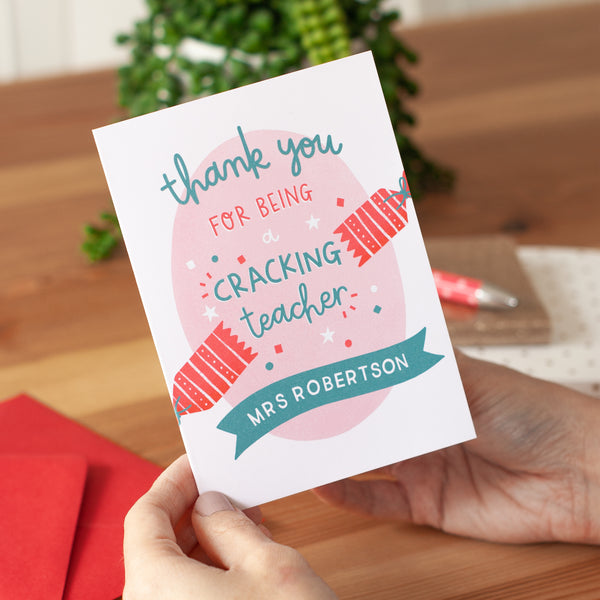 'Cracking Teacher' Personalised Christmas Card