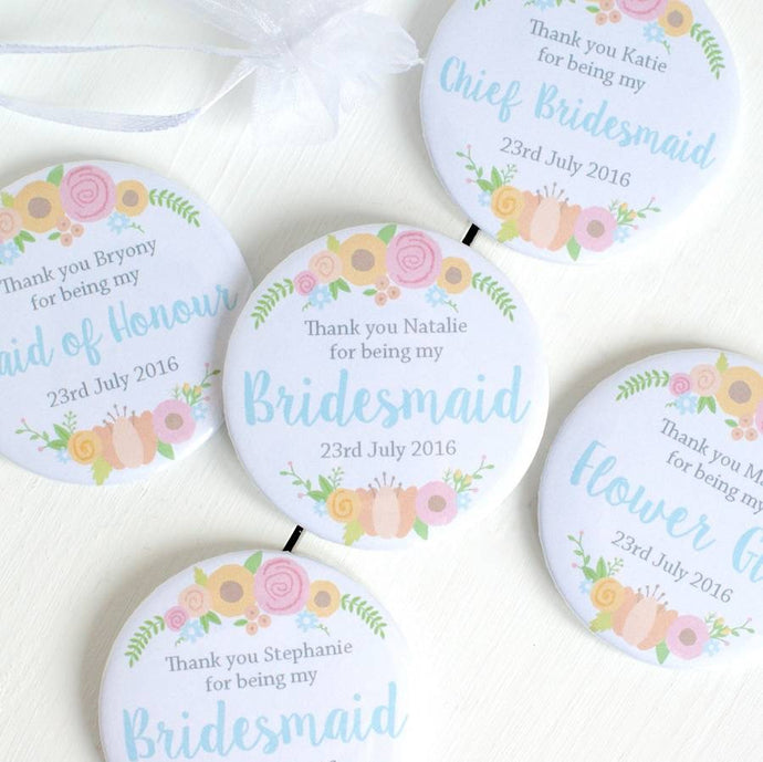 Personalised Bridesmaid Pocket Mirrors
