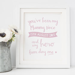 A personalised Mother's Day art print for her first Mother's Day or birthday.