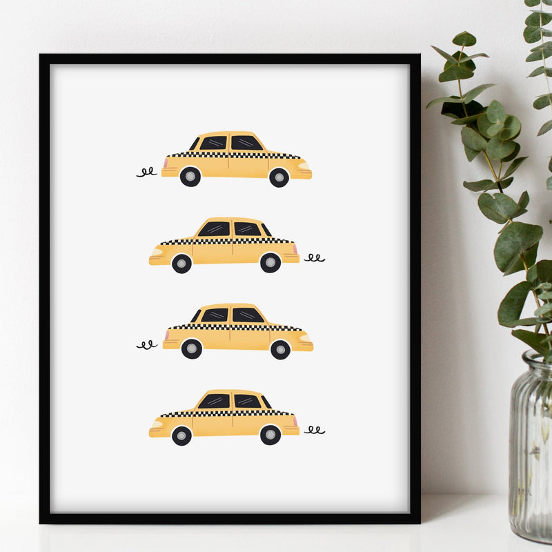 An illustrated print of New York City's yellow taxi cabs.