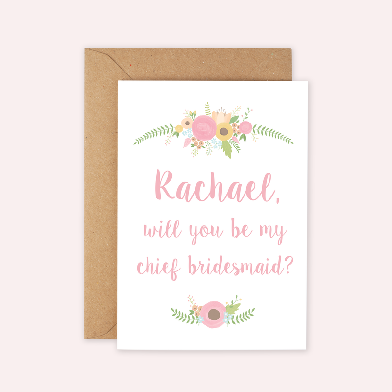 Personalised Floral 'Be My Bridesmaid?' Card