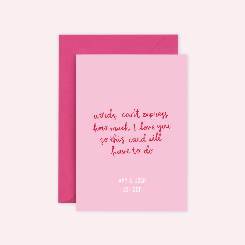 Personalised 'Words Can't Express...' Valentine's Card