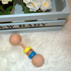 Personalized Wooden Rattle - Boys