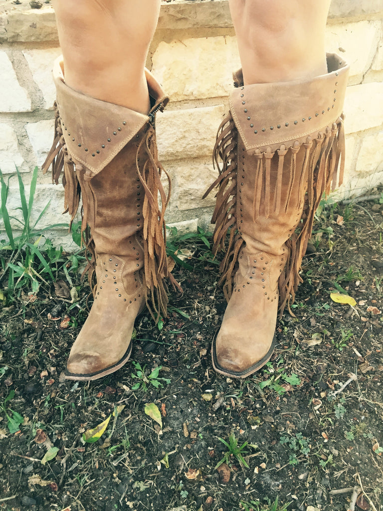 TALL FRINGE BOOTS-BROWN