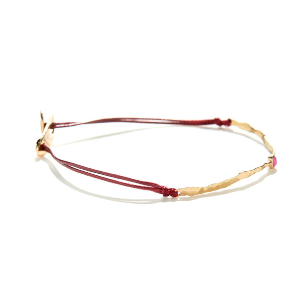 thin bar bracelet with ruby